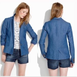 Madewell one button chambray blazer 8